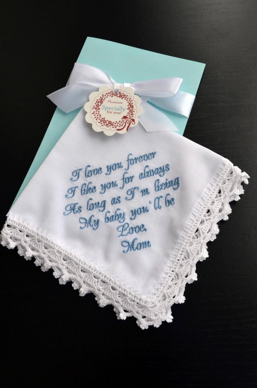 Wedding Gift For Bride From Her Mom Daughter Mother Something Blue Hankerchief Personalized