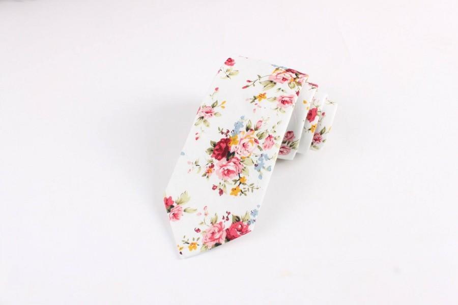 """Mariage - White Retro Floral Skinny Tie 2.36"""""""