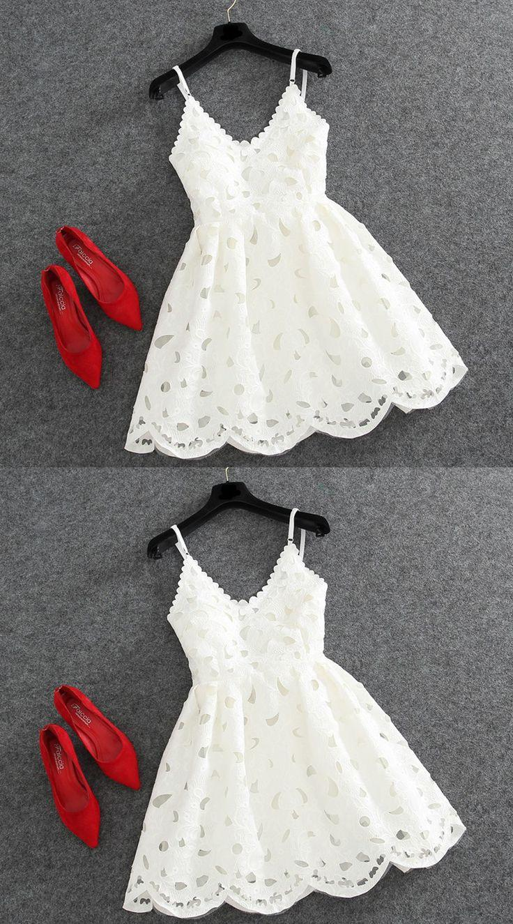 Mariage - A-Line V-Neck Sleeveless Backless Short White Lace Homecoming Dress