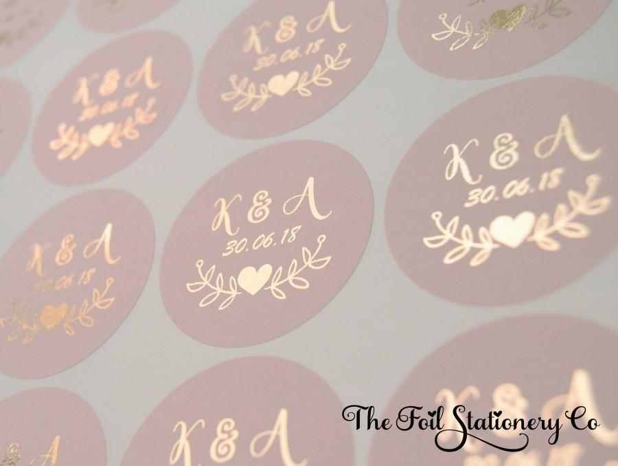 Foil Wedding Stickers Blush Rose Gold Favour Round Labels Custom Personalised 25mm 1 D7