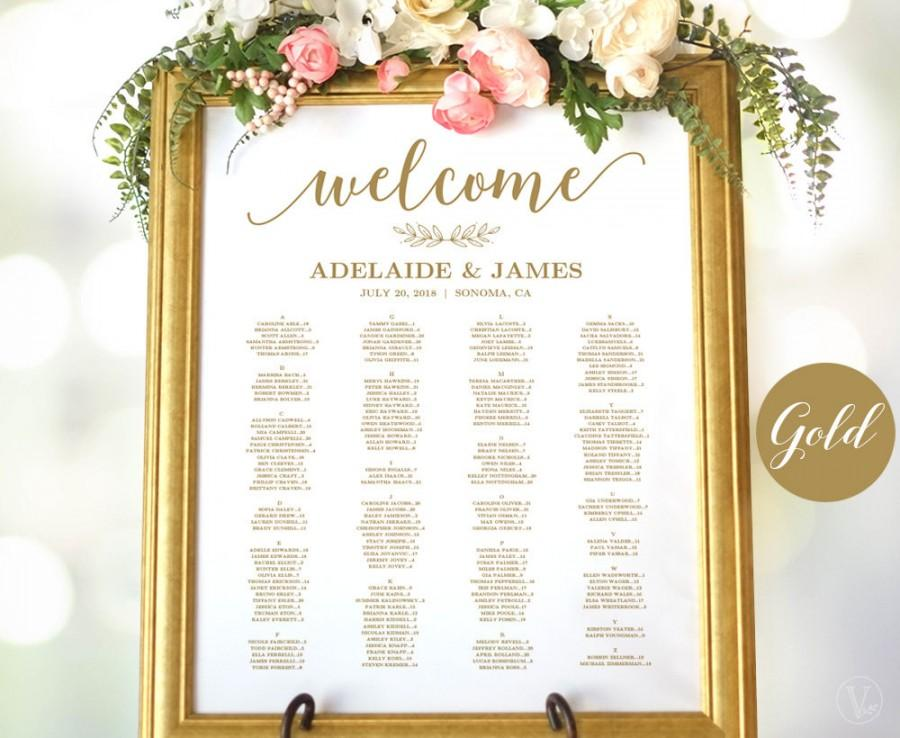 Wedding - Gold Wedding Seating Chart Template, Wedding Seating Chart Poster, Elegant Gold Seating Chart, Editable, Modern Calligraphy, VW10GOLD