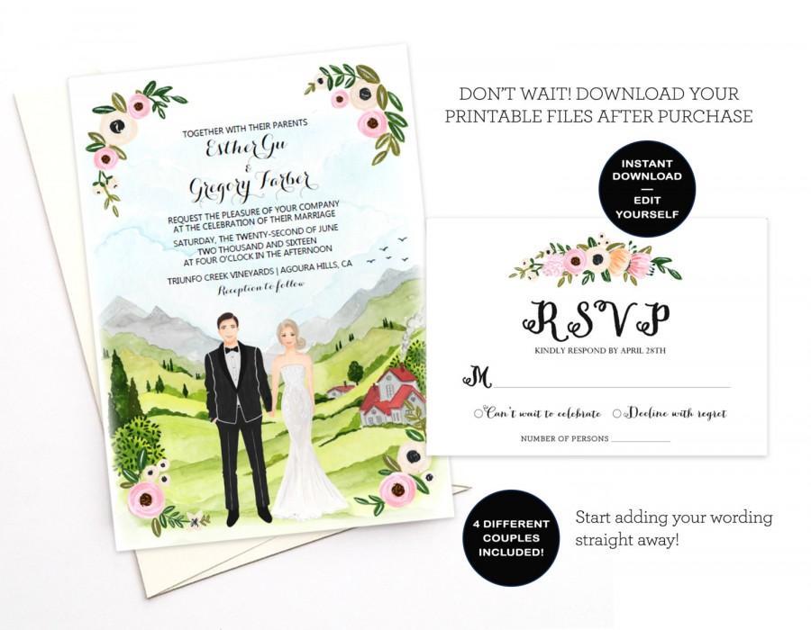 Hochzeit - Wedding invitation template download, Editable wedding invitation, Printable wedding invitation, Couple Illustrated Editable invitation rsvp