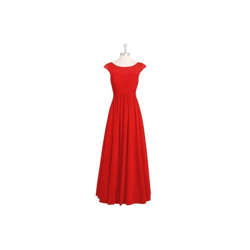 Свадьба - Red Azazie Tobey - Chiffon And Lace Illusion Floor Length Boatneck Dress - Charming Bridesmaids Store