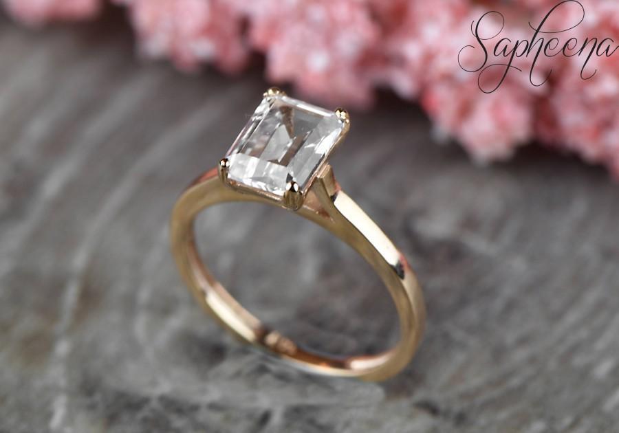 Emerald Cut Sapphire Solitaire Engagement Ring In 14k Rose White Yellow Gold Wedding Ring 9x7mm Emerald Cut Gemstone Ring By Sapheena 2824789 Weddbook