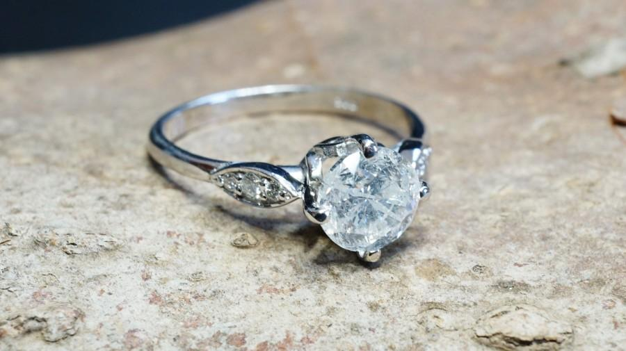 Mariage - ON SALE!!! 1 ct Diamond Engagement Ring-White Gold Engagement Ring-Cluster engagement ring-Promise ring-Bridal ring-Art deco engagement ring