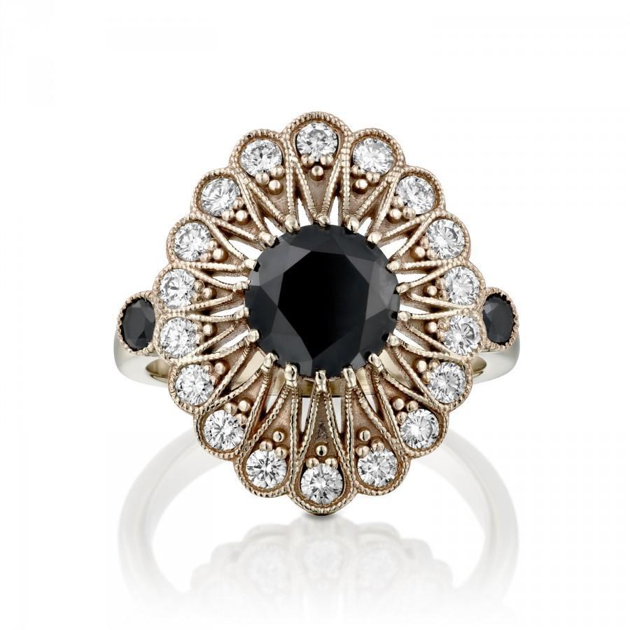 Wedding - Vintage Engagement Ring, Black Diamond Engagement Ring, 14k White Gold Ring Without Rodium, Antique Ring, Art Deco Ring