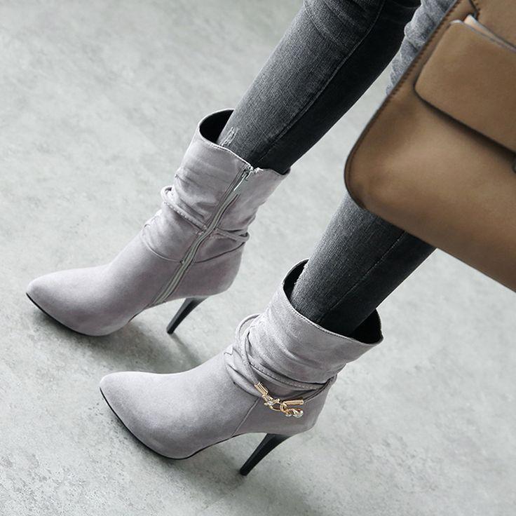Wedding - Stiletto Heel Side Zipper Rhinestone Buckle Ankle Boot