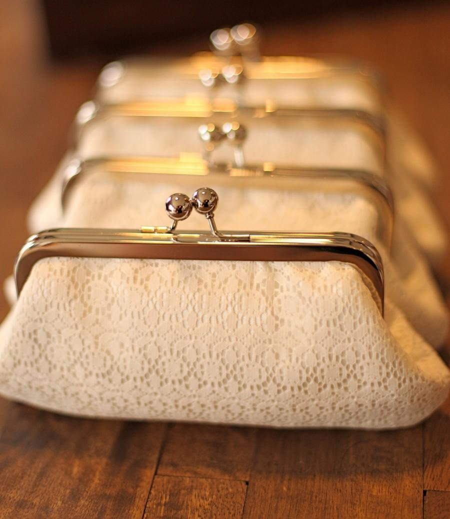 Свадьба - Ivory Shabby Chic Clutch with Nickel Frame