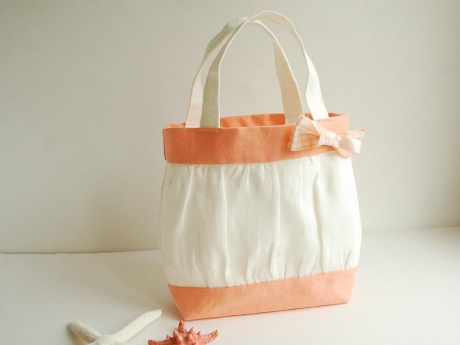 Mariage - Ivory Flower Girl Bag - White Peach Linen Girl's Tote - Festive Girl's Handbag - Toddler Gift - Toddler handbag