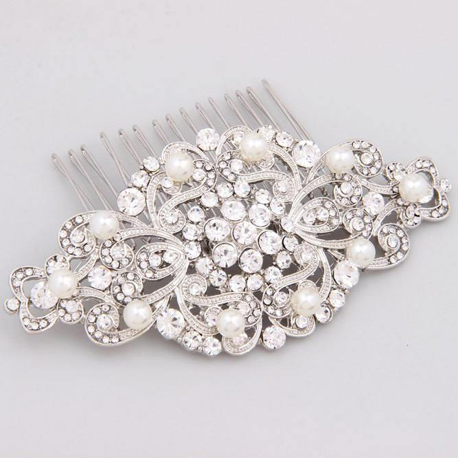 Свадьба - Bridal Hair Comb, Pearl Hair Comb, Crystal Wedding Comb, Wedding Hair Accessories, Bridal Hair Piece, Silver Bridal Headpiece, Bridal Comb