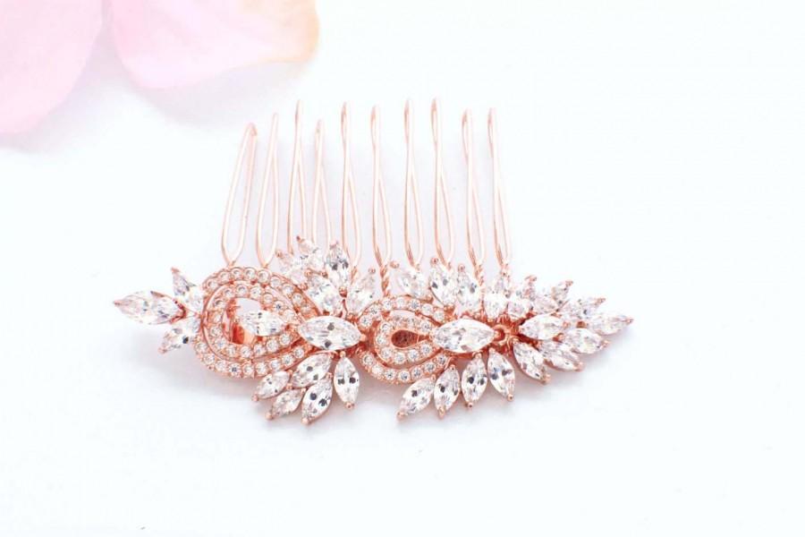 Свадьба - Rose gold hair comb, wedding hair comb, CZ crystal hair comb, bridal hair piece, wedding hair accessories, bridal hair clip, bridal haircomb