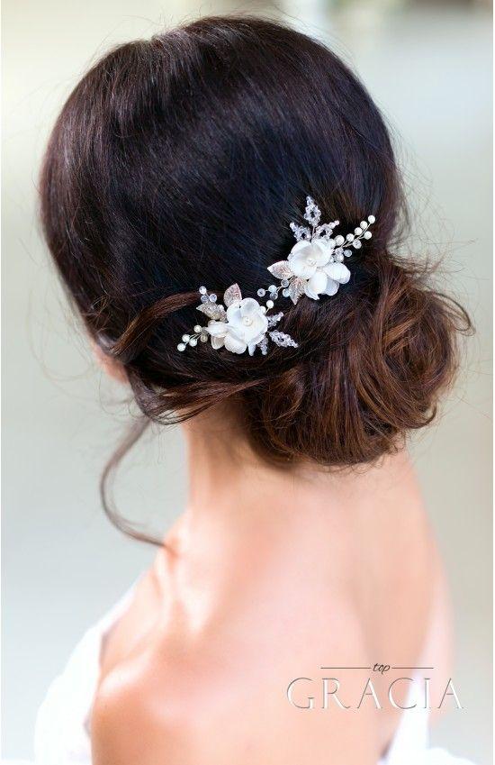 Свадьба - DIONYSIA White Flower Bridal Hair Pins
