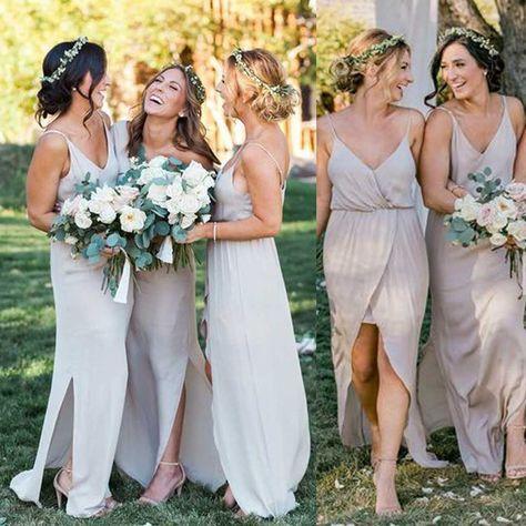 Свадьба - Simple Cheap Satin Chiffon Spaghetti Strap Side Split Long Bridesmaid Dresses For Beach Wedding Party, WG100