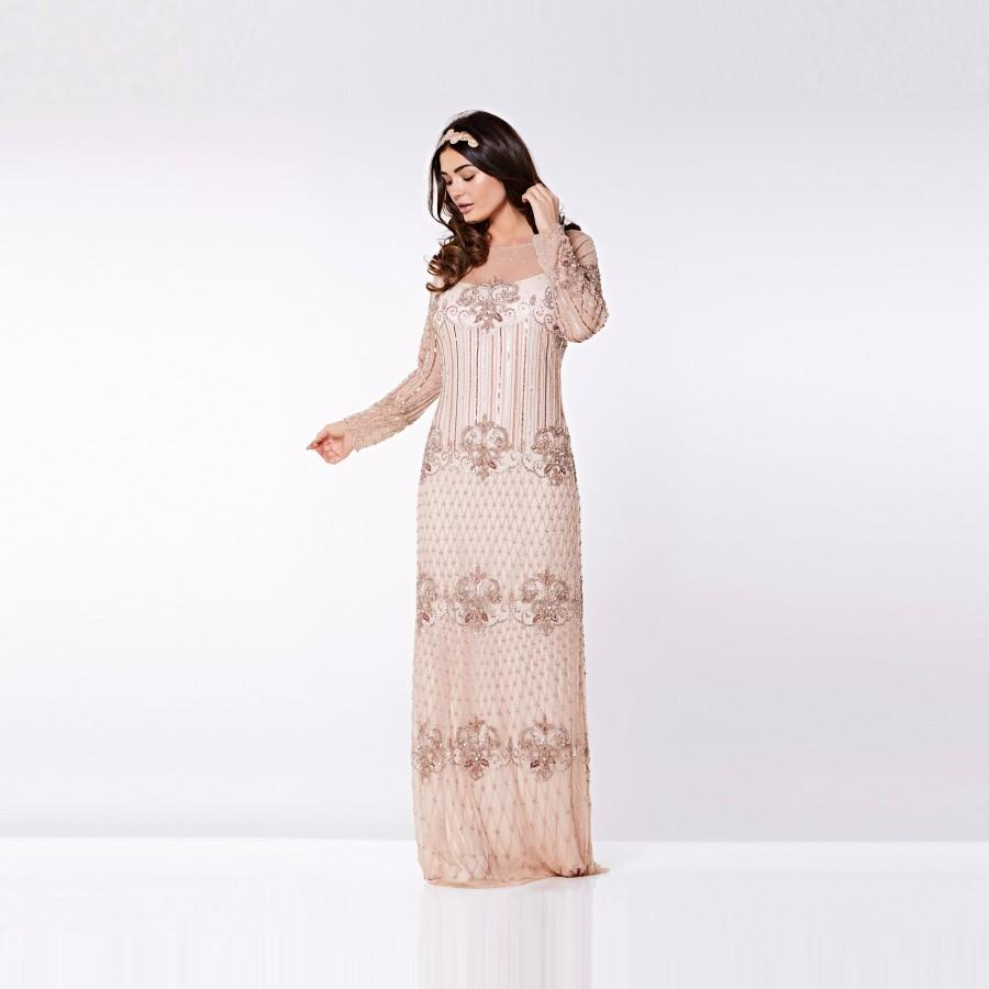 Champagne Prom Maxi Dress With Sleeves Dolores 20s Inspired Flapper ...