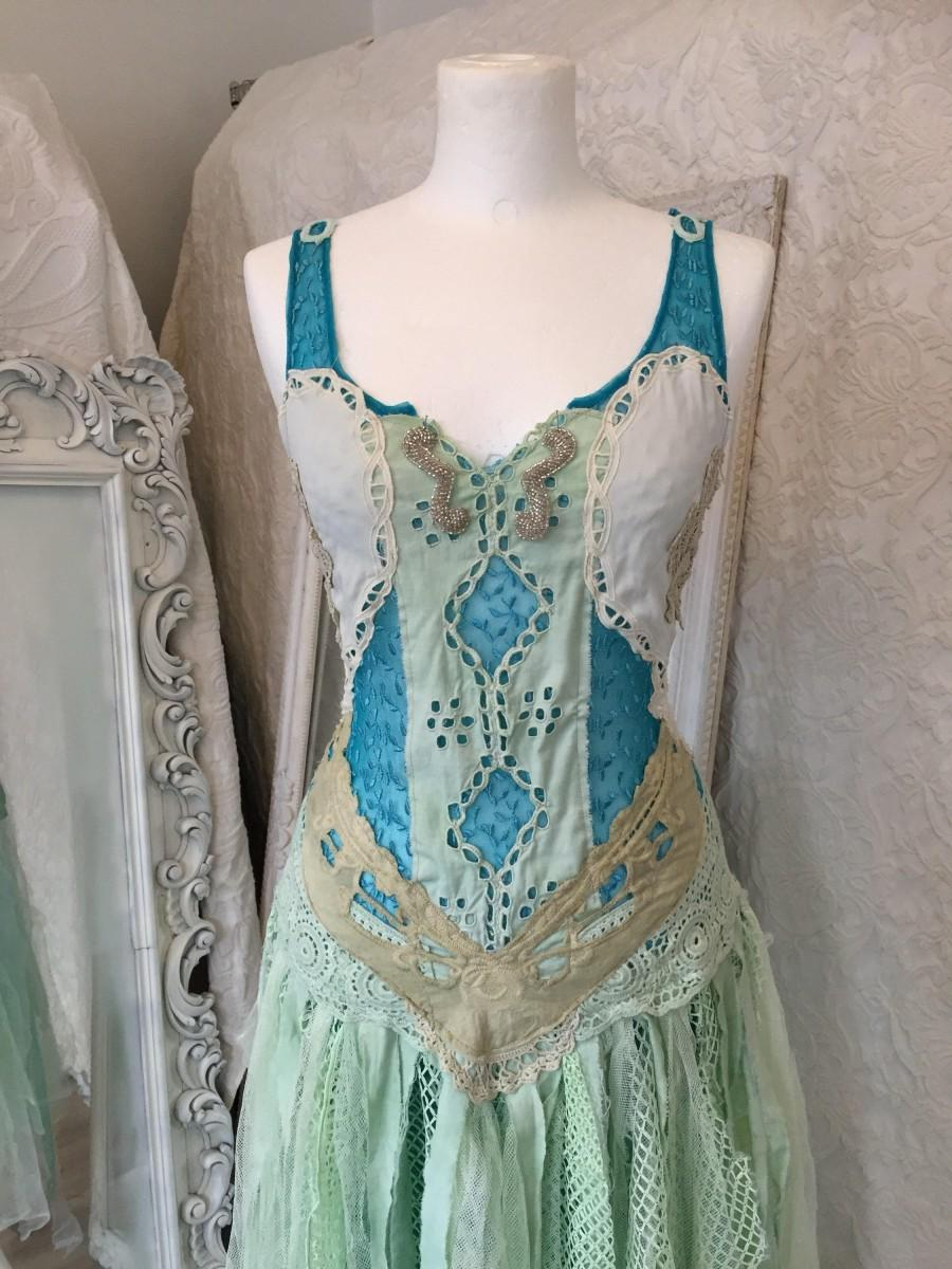 Gypsy Wedding Dress In Aqua Tones,bridal Gown Mermaid Look,wedding ...