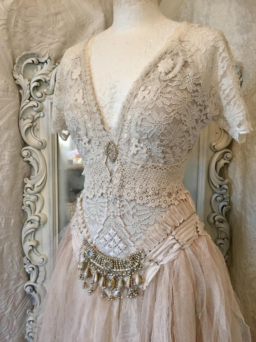 Wedding Dress Bohemian Styleboho Wedding Dressrawrags Wedding - Shabby Chic Wedding Dress