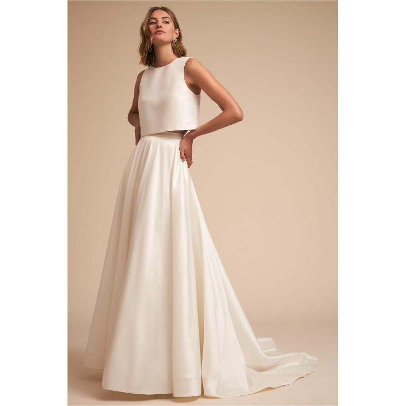 Mariage - BHLDN Spring/Summer 2018 Clarice Top & Marissa Skirt Ivory Chapel Train Outfit Sleeveless Aline Scoop Neck Bow Satin Bridal Gown - Bonny Evening Dresses Online