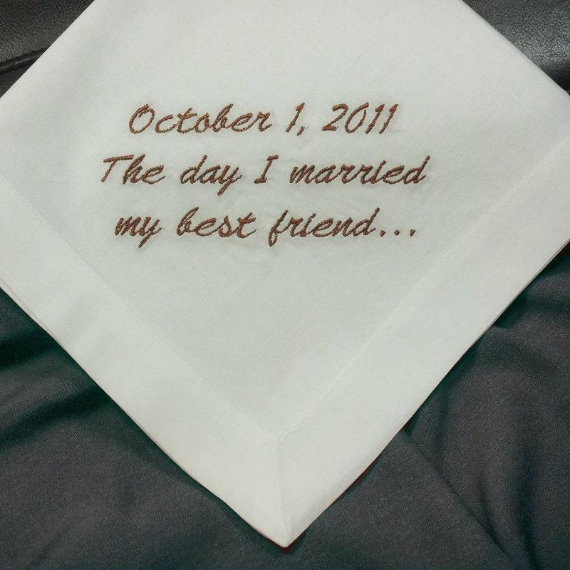 Wedding - Embroidered Mans Handkerchief Perfect Wedding Handkerchief for Your Groom Gift Cotton Hankerchief HM400