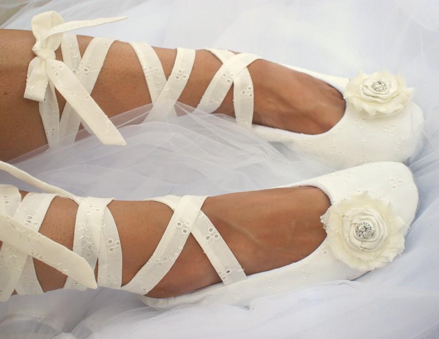 fef7b3cad39 Ivory Lace Up Wedding Ballet Flats
