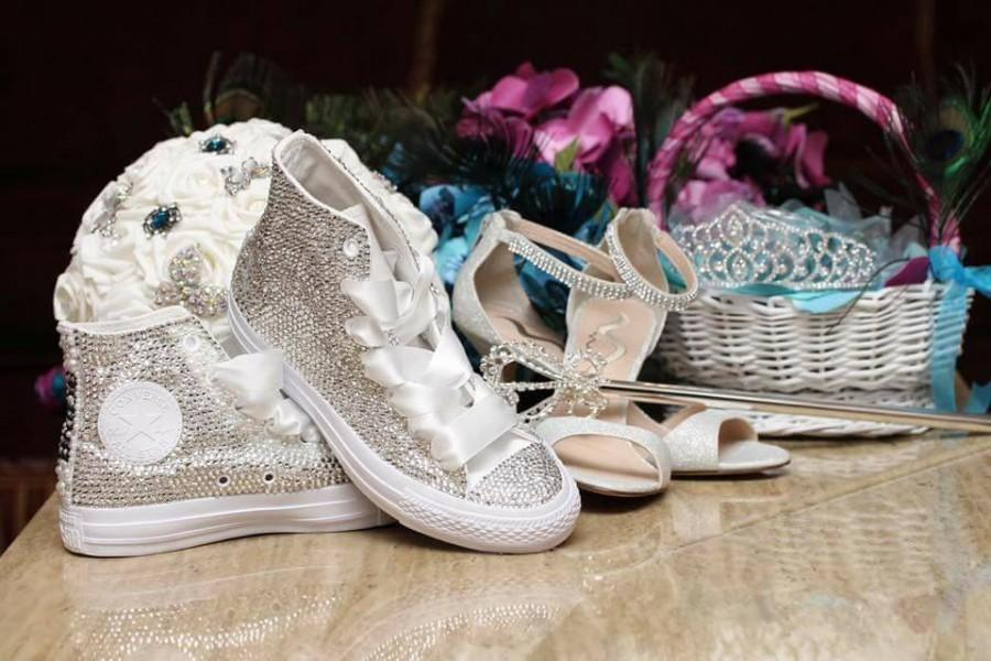 516ca6d64131 Swarovski (Crystal) Diamonds Blinged Out Converse Chuck Taylor Bridal  Wedding Sneakers Crystal Wedding Sneakers