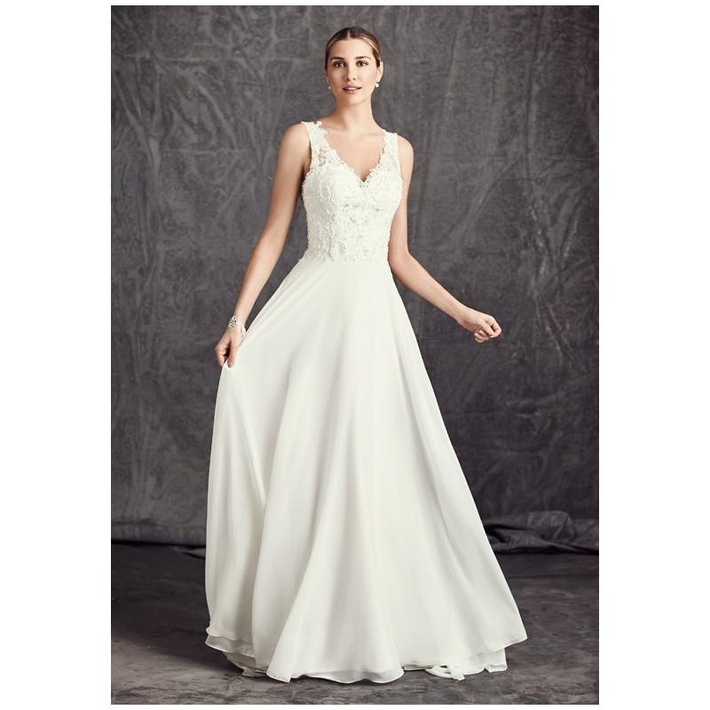 Свадьба - Kenneth Winston: Ella Rosa Collection BE288 - A-Line V-Neck Natural Floor Semi-Cathedral Chiffon Lace - Formal Bridesmaid Dresses 2018