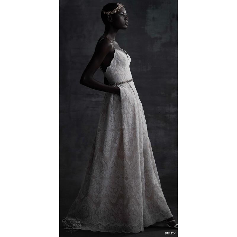 Wedding - BHLDN Spring/Summer 2017 Helena Lace Elegant with Sash Aline Blush Sleeveless Spaghetti Straps Court Train Wedding Gown - 2018 Unique Wedding Shop