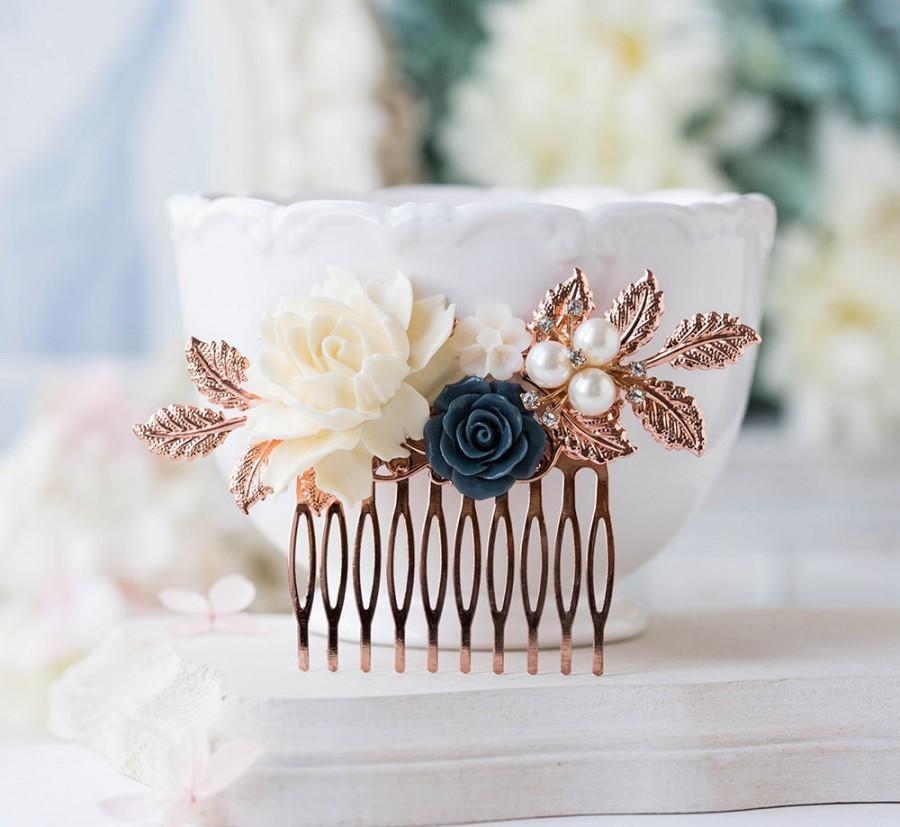Свадьба - Rose Gold Bridal Hair Comb, Cream White Navy Blue Wedding Hair Comb, Rose Gold Leaf Floral pearls rhinestones Bridal Hair Piece, Hair Slide