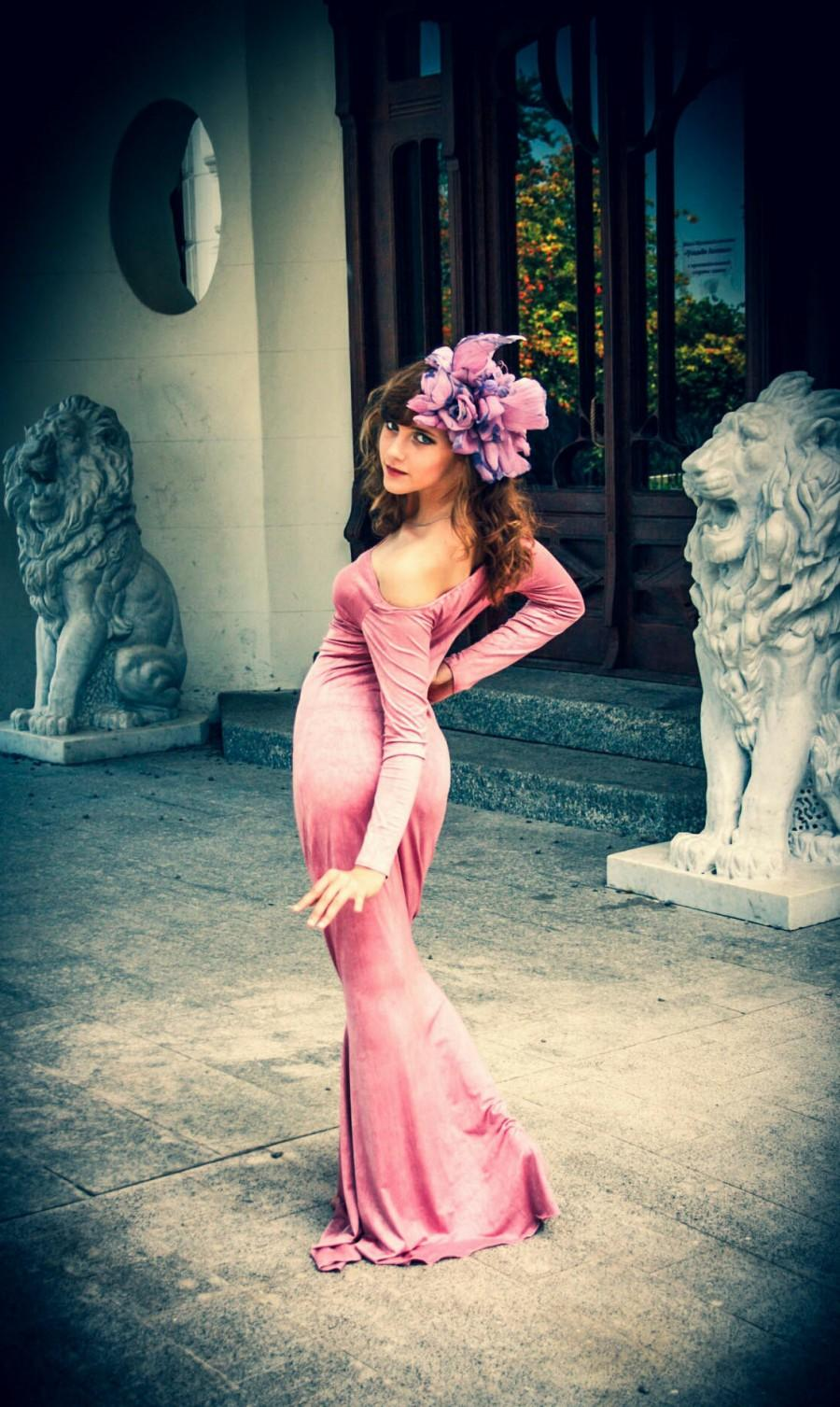 Свадьба - Design headpiece Unique accessory hat with flowers and butterflies dusty rose hat ball gown prom dress pink flower evening sexy dress dances