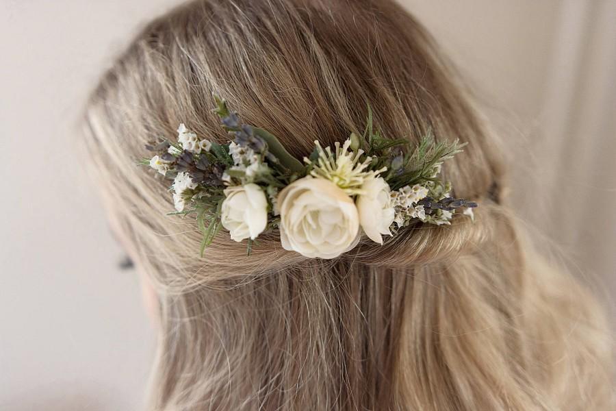 Свадьба - Ivory Flower Comb- Rustic Wedding- Dried Flower Comb- Ivory Floral Comb- Lavender Hair Accessory- Rosemary Greenery Comb- Summer Wedding