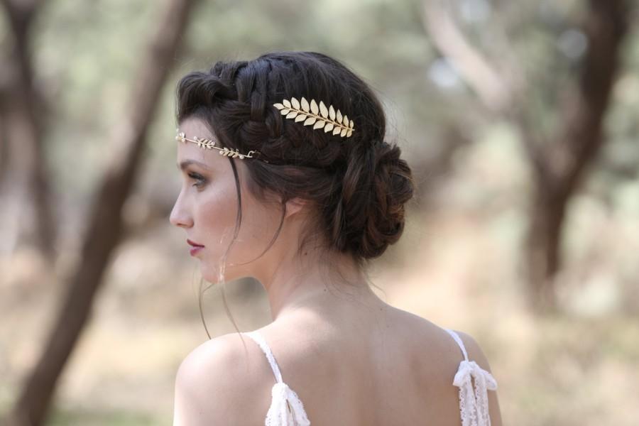 Свадьба - Athena Comb, Golden Leaf Bridal Comb, Bridesmaid Hair Accessories, Wedding Comb, Bridal Hair Accessories, Goddess Comb, Princess Comb