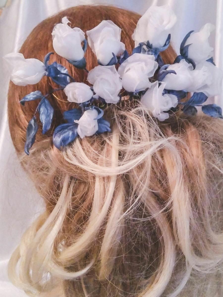 Roses Hair Pins Wedding Silk Flowers Wedding Hair Comb White Flower