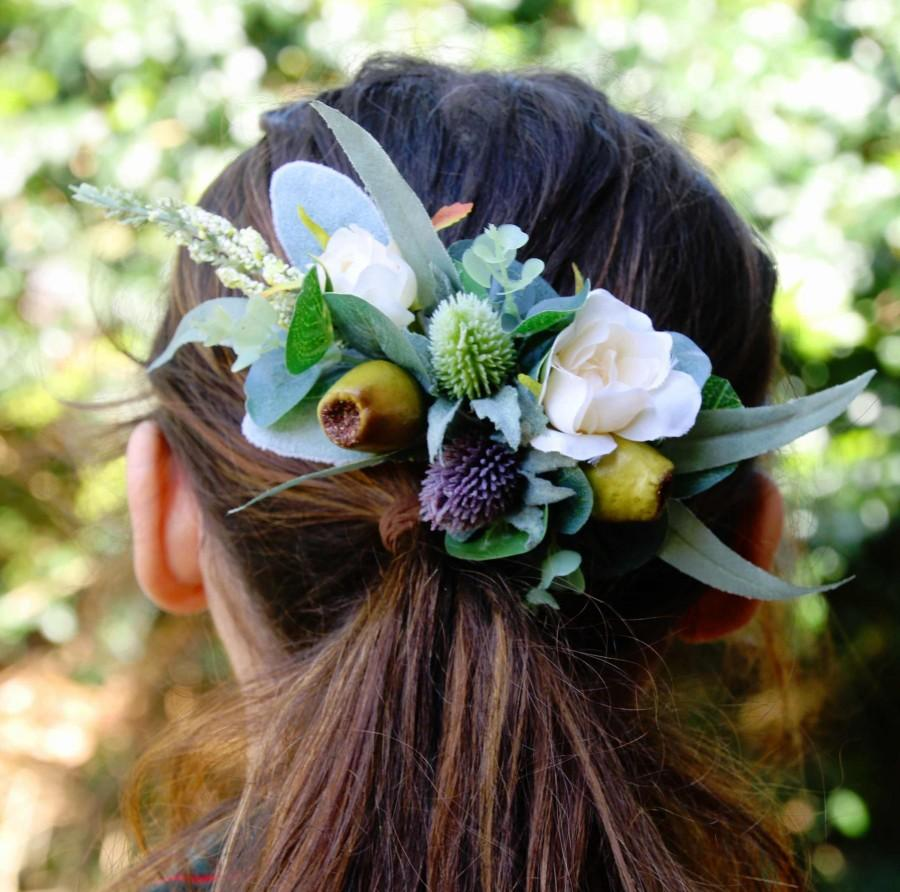 Свадьба - Silk flower hair comb. Roses, thistle flower, gumnuts, eucalyptus, wildflowers. Hair flowers for wedding, bridal, photoshoot, party, races