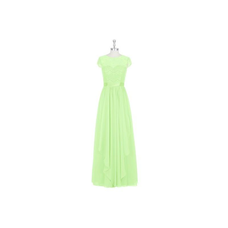Hochzeit - Sage Azazie Beatrice - Floor Length Chiffon, Lace And Charmeuse Illusion Scoop Dress - Charming Bridesmaids Store