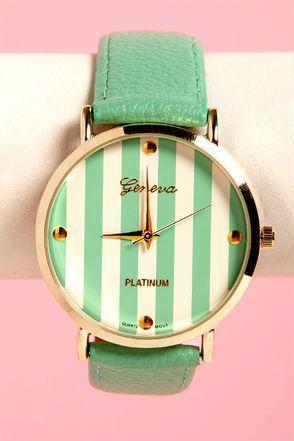 Hochzeit - The Clock Stripes Twelve Mint Green Watch