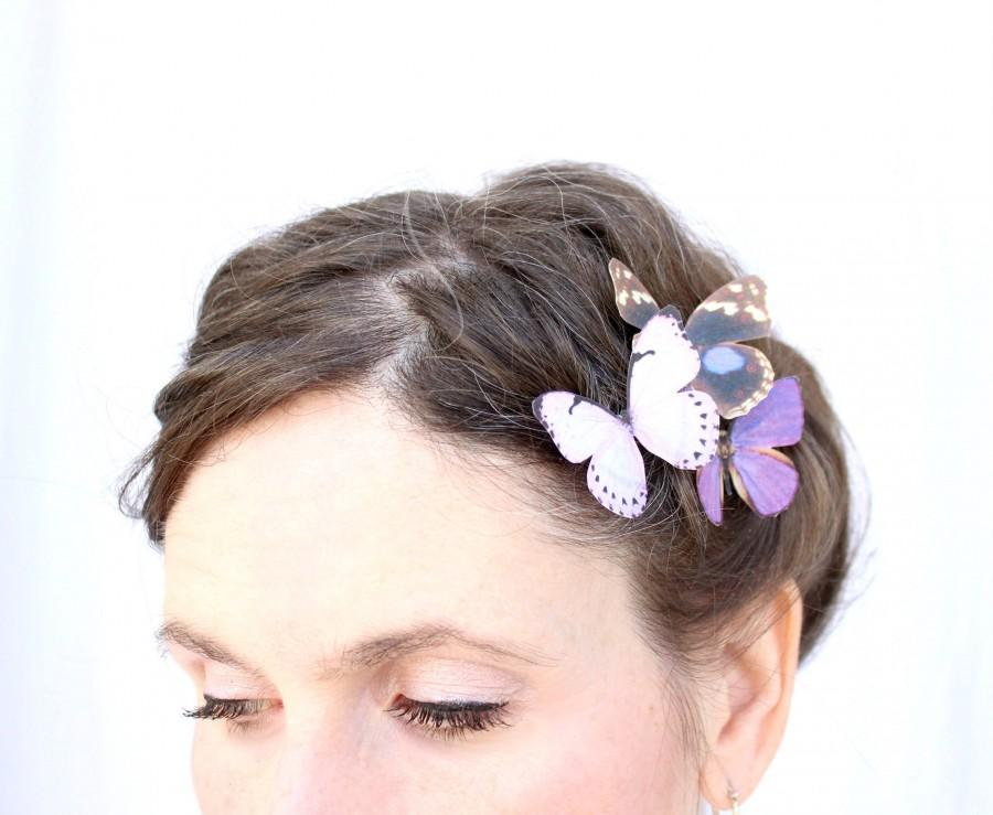 Свадьба - 3 silk butterfly hair clips . your choice of butterflies . gifts for birthday, wedding, bridesmaids, parties, everyday . costume . handmade