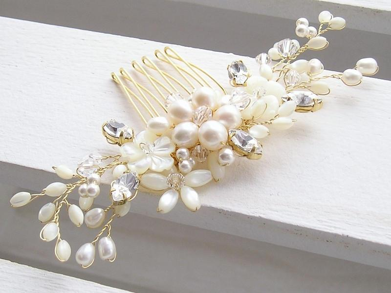 زفاف - Bridal hair comb, bridal headpiece, wedding hair comb, floral hair comb, pearl hair comb, pearl hair adornment
