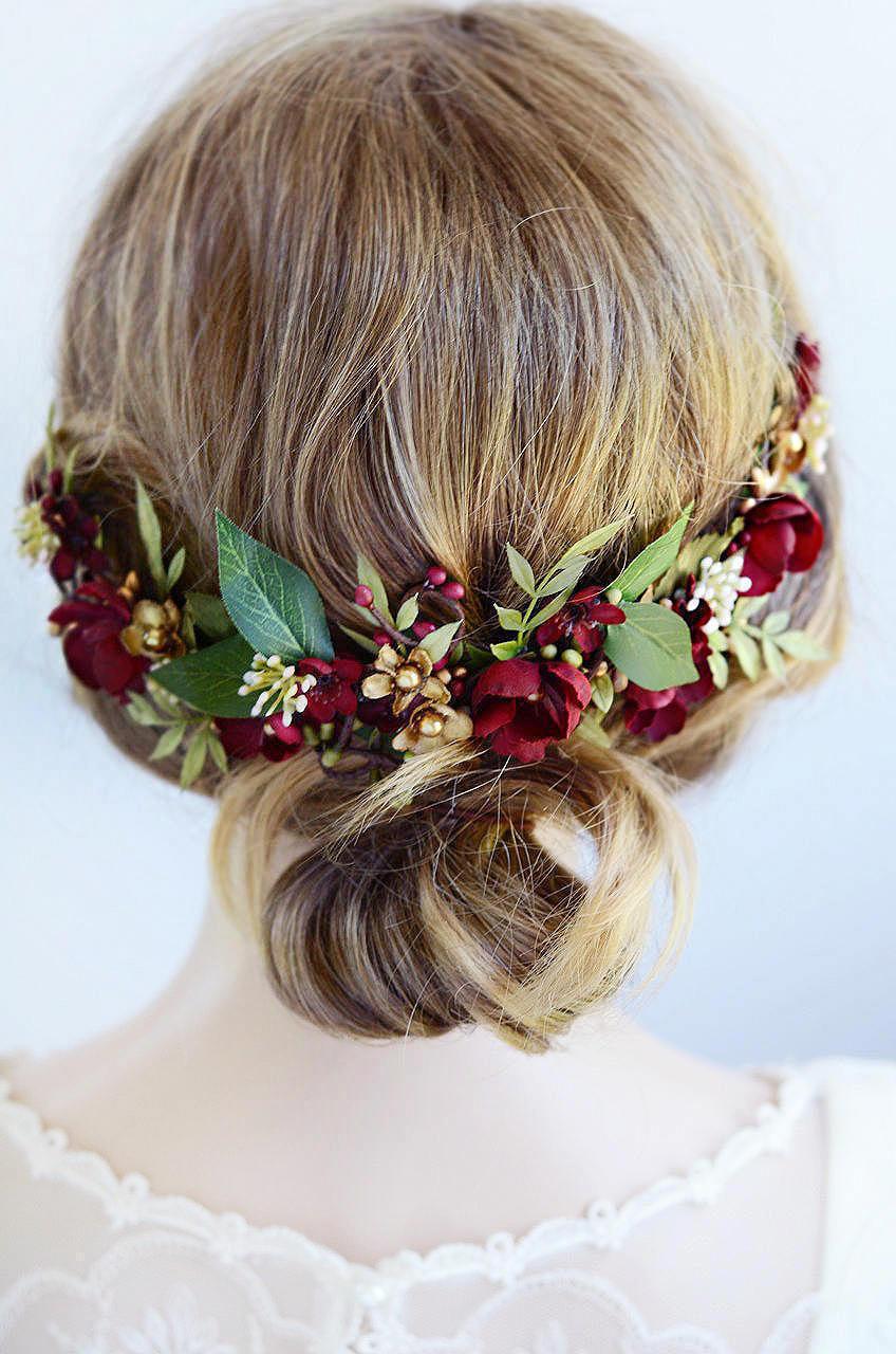Свадьба - burgundy headpiece, floral hair piece, burgundy hair clip, bridal headpiece, burgundy hair flower, gold wedding, leaf floral hair clip