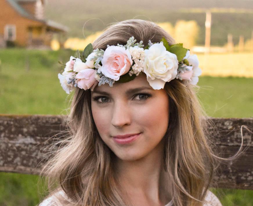 Свадьба - Blush flower crown Blush pink and ivory flower crown with greenery Wedding floral crown Pink floral crown Wedding hair wreath