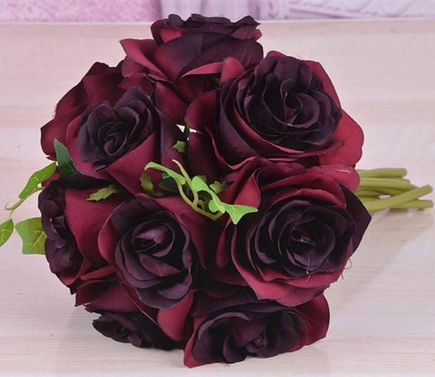 Burgundy Flower Bouquet Silk Rose Flower Dark Red Bouquet Burgundy ...