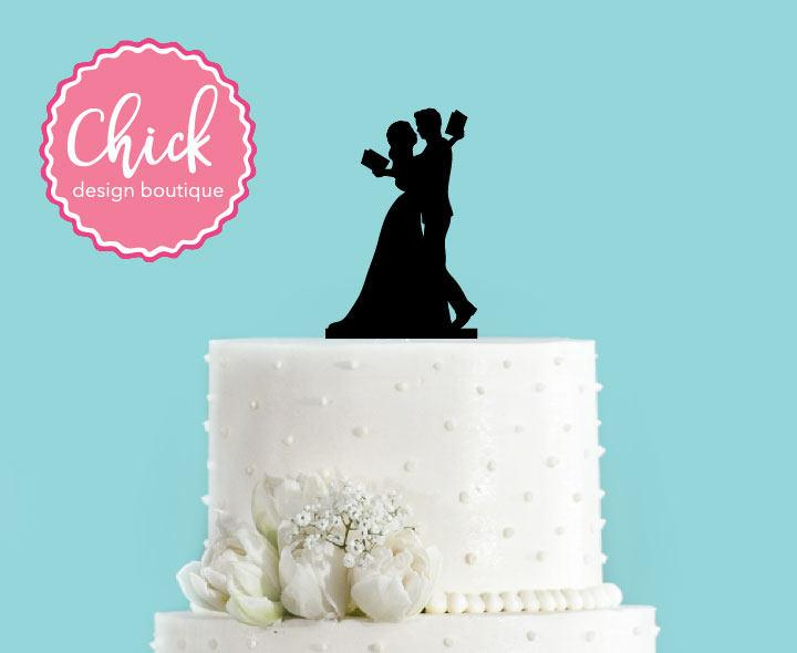Mariage - Couple Reading Literary Wedding Bride and Groom Wedding Acrylic Wedding Cake Topper