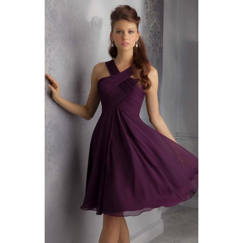 Wedding - Eggplant V-Neck Short Dress by Angelina Faccenda Bridesmaids - Color Your Classy Wardrobe