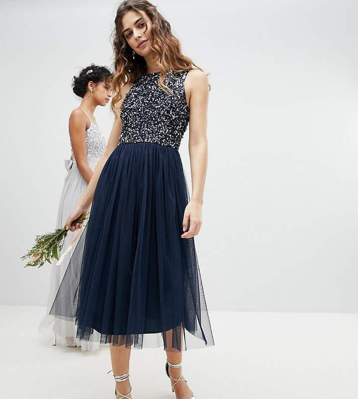 زفاف - Maya Sleeveless Sequin Bodice Tulle Detail Midi Bridesmaid Dress With Cutout Back