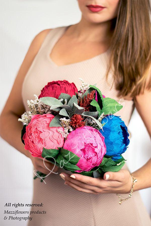 زفاف - Wedding bouquet,bridal bouquet,paper flowers bouquet,bridesmaid bouquet, peony bouquet,paper flower peony,