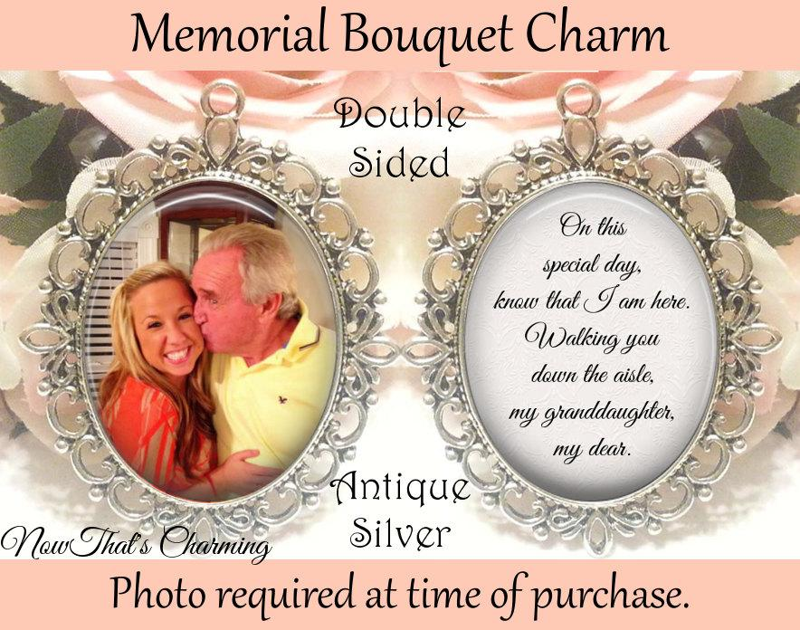 Hochzeit - SALE! Memorial Bouquet Charm - Double-Sided - Personalized with Photo - On this special day know that I am here - Gift for the Bride