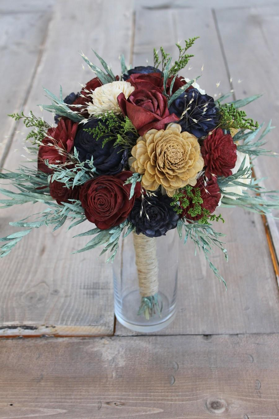 Burgundy, Navy Blue, & Gold Eucalyptus Sola Bouquet, Eucalyptus Leaf ...