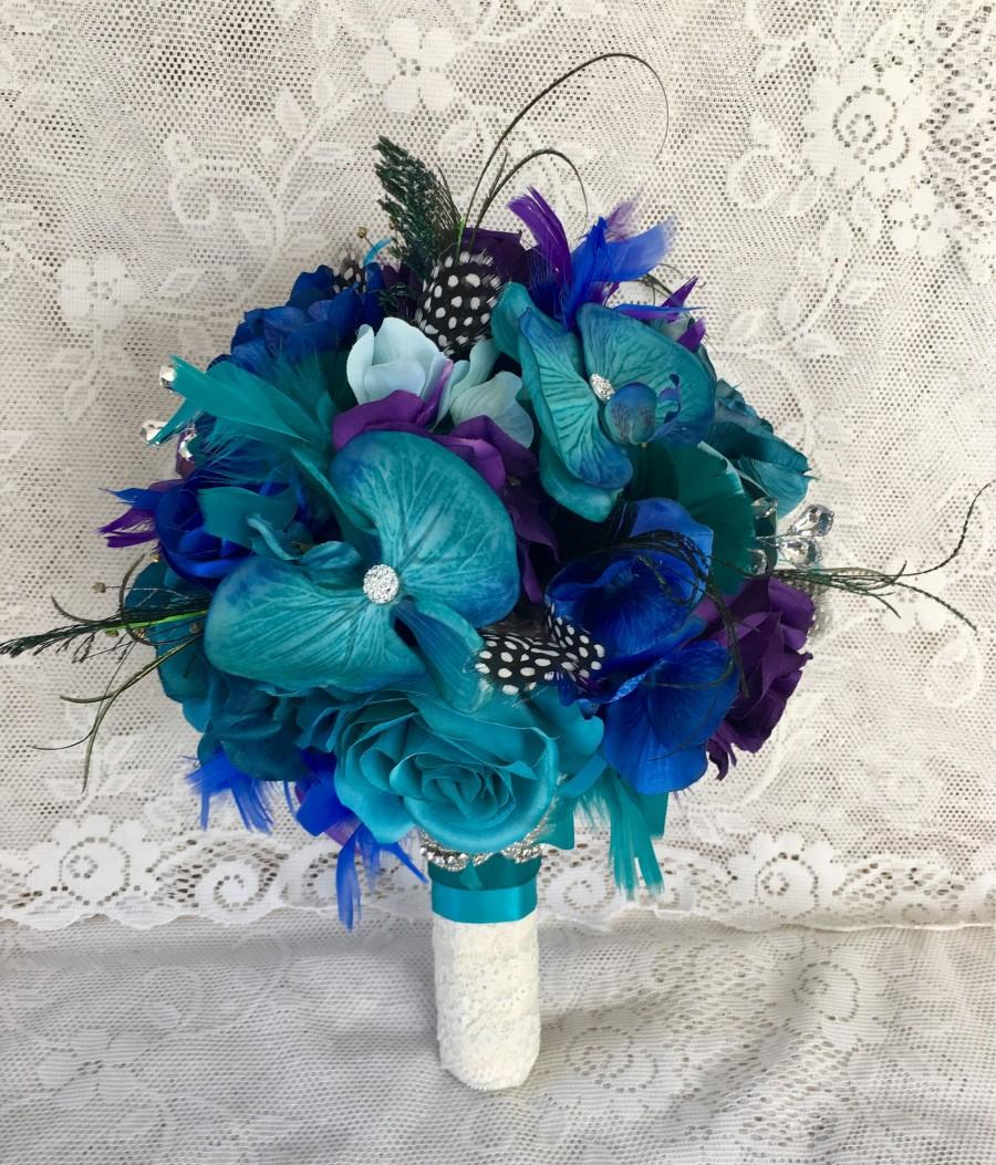 Peacock Wedding Bouquet, Feather Wedding Bouquet, Wedding