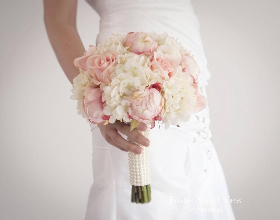زفاف - Shabby Chic Wedding Bouquet, Peony Bouquet, Blush Bouquet, Silk Bouquet, Wedding Bouquet, Bridal Bouquet, Wedding Flowers