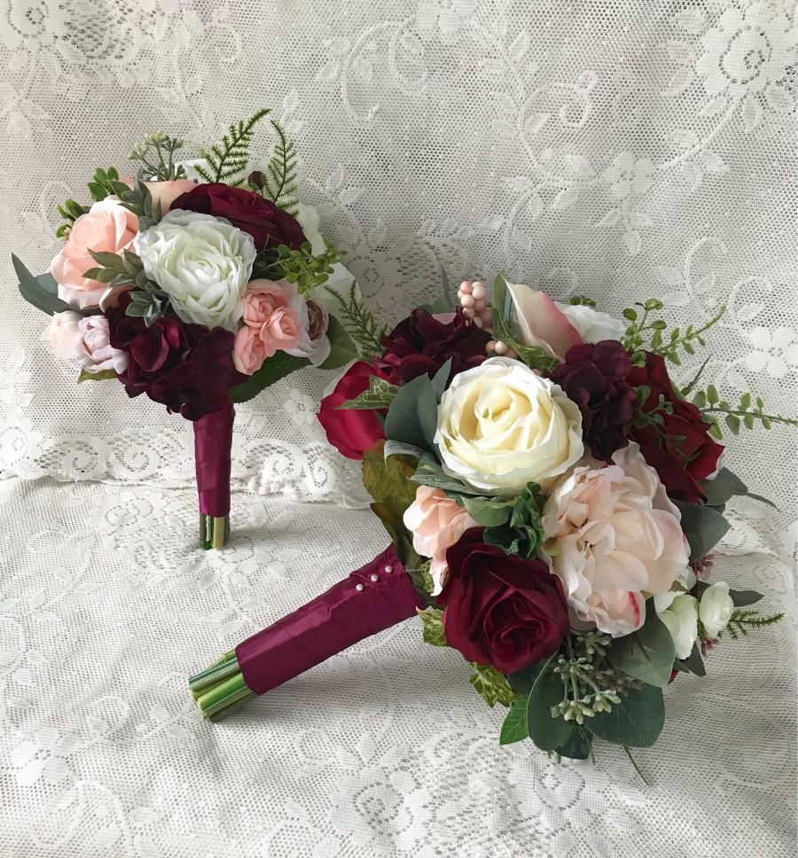 Mariage - Wedding bouquet,Burgundy Wine Bridal bouquet,Blush Bouquet,Silk Wedding Flowers,Burgundy and Blush Bouquet,Dusty Pink Bouquet,