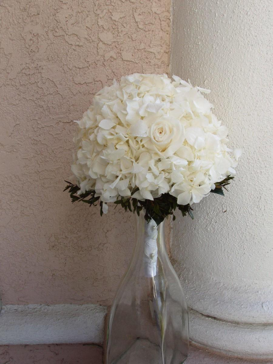 زفاف - Large PRESERVED Real Hydrangea, Rose, White BRIDAL BOUQUET, Wedding Bouquet, Wedding Supplies