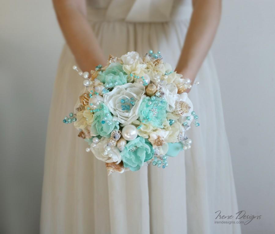 Hochzeit - Seashells Wedding Bouquet. Turquoise and ivory wedding bouquet. Beach wedding bouquet. Beach wedding accessories